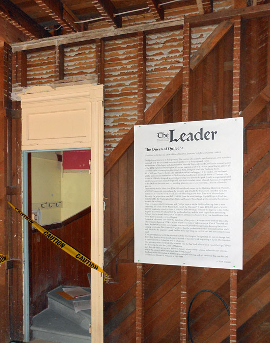"A blow-up of the Leader editorial hanging at the ""Mansion Memories and Messages"" event"